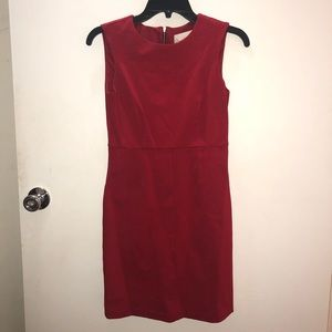 Red Sheath Dress with Exposed Zipper